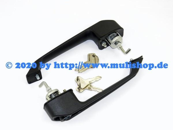 Außentürgriffpaar, plast, schwarz mit 4 Schlüssel