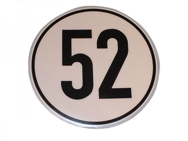 Geschwindigkeitsaufkleber 52 km/h