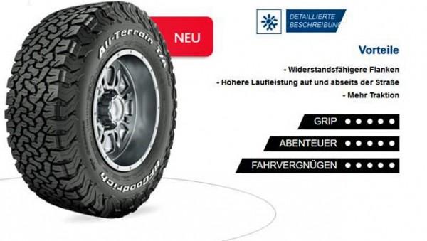 Reifen BF Goodrich LT32x11.50R 15 113R TL All Ter. T/A (Alternative zum Kumho 325/60R 15 106S)