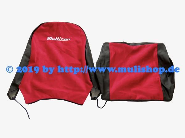 """Sitzbezug rot/schwarz mit Schriftzug """"Multicar"""" für M24 / M25"""