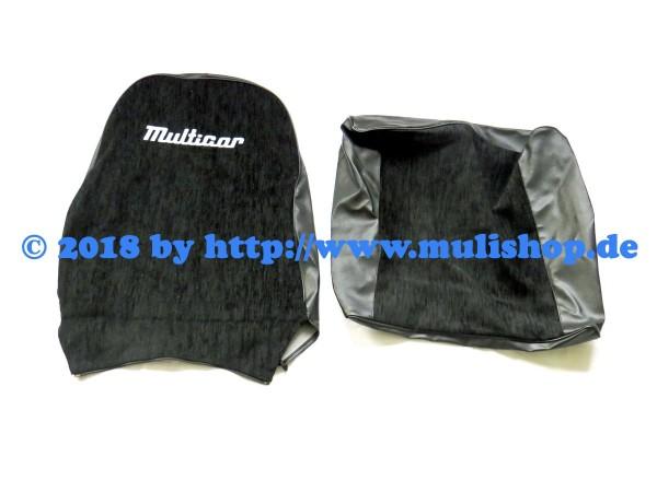 """Sitzbezug schwarz mit Schriftzug """"Multicar"""" für M24 / M25"""
