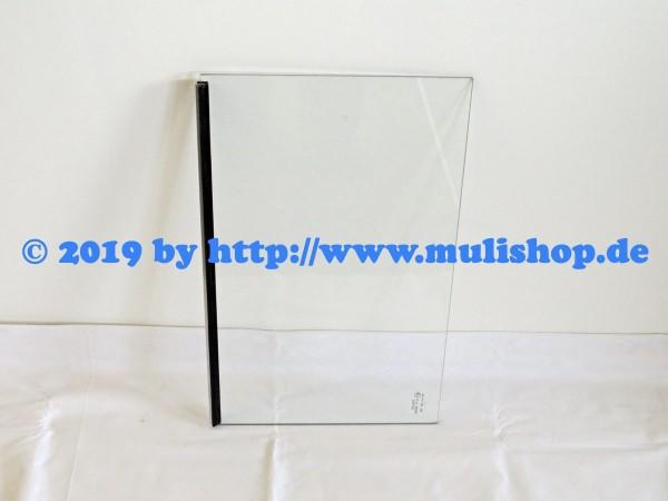 Seitenscheibe starr hinter Schiebefenster mit Dichtungsgummi