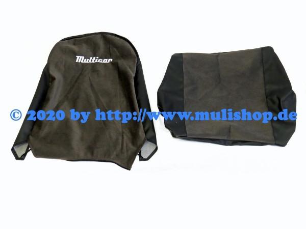 """Sitzbezug braun/schwarz mit Schriftzug """"Multicar"""" für M24 / M25"""